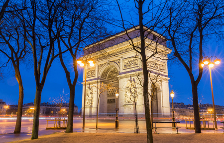 The Triumphal Arch at night Paris, France Stock Photo