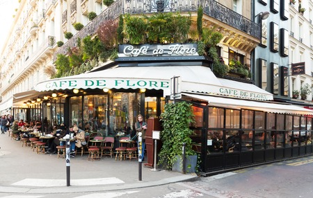 Paris, France-February 15 , 2017 :The cafe De Flore located at the corner of boulevard Saint Germain and rue Saint Benoit . It was once home to intellectual stars, from Hemingway to Pablo Picasso. Redakční
