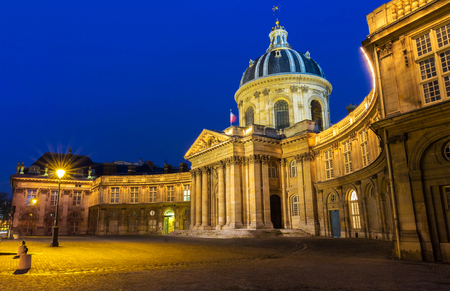 academie: The French Academy at night, Paris, France.