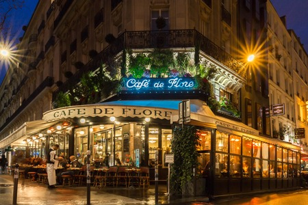 Paris, France-March 23,, 2017: The famous cafe de Flore located at the corner of boulevard Saint Germain and rue Saint Benoit. It was once home to intellectual stars , from Hemingway to Pablo Picasso.