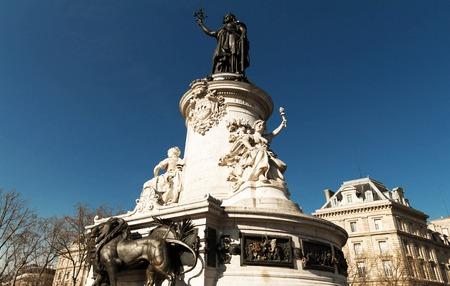 brandishing: The Marianne statue,Republic square , Paris. Stock Photo
