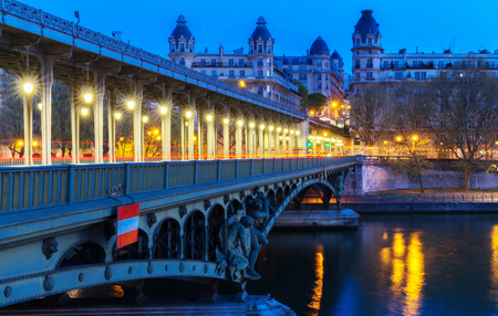 Bir-Hakeim bridge at night, Paris.
