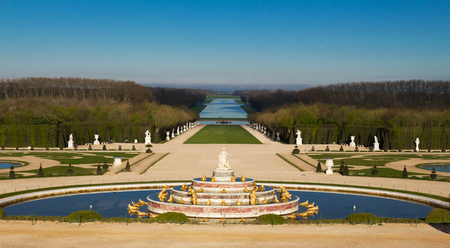 The Latona Fountain in the Garden of Versailles in France. Imagens