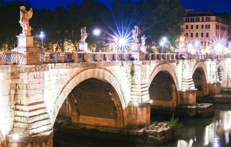 The Saint Angel bridge in Rome, Italy Stock Photo