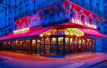 The traditional French cafe Royal Nation ,Paris,France. Editorial