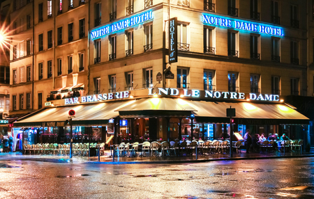Paris, France-April 30 ,2017 : The traditional Parisian cafe Le notre Dame located near Notre Dame cathedral.