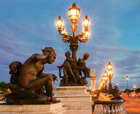 The famous Alexandre III bridge at night, Paris, France. Stock Photo