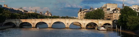 The Seine river and Pont Neuf (New Bridge) , Paris, France. Stock Photo