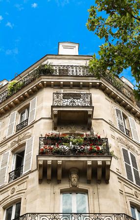 The facade of Parisian building, France.