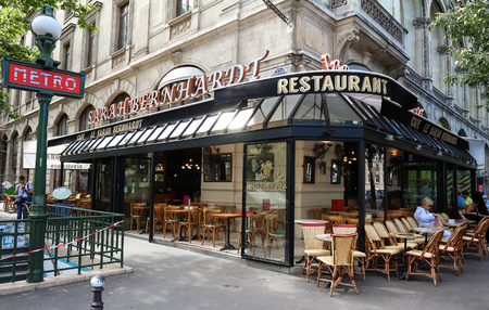 brasserie: Paris, France-JULY 07, 2017 : The famous French cafe Sarah Bernardt named after the famed Parisian actress and singer, located at place du Chatelet in Paris.