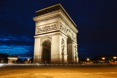 champs elysees: The Triumphal Arch in evening, Paris, France.