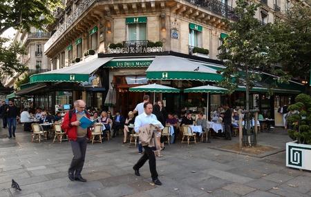 Paris, France-JULY 25,, 2017 : the famous cafe Les deux Magots located in Saint Germain des Pres area of Paris.It has been frequented by Ernest Hemingway, Pablo Picasso,Albert Camus, James Joyce...