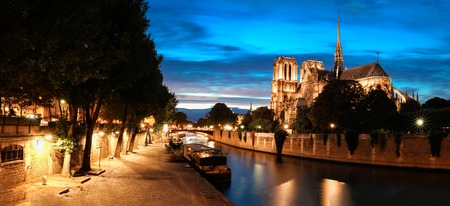 The panorama of the Seine river quay with cathedral Notre Dame ,Paris, France. Stock Photo