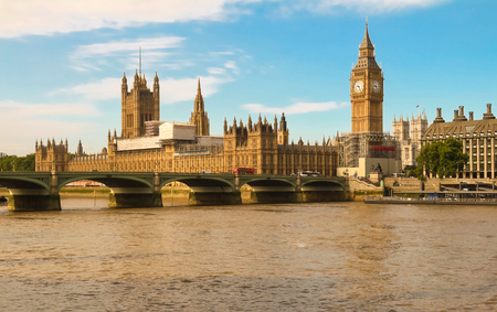 water bus: The Big Ben and Westminster Bridge in London.