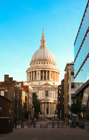 The famous St Pauls cathedral at sunrise, London, United Kingdom.