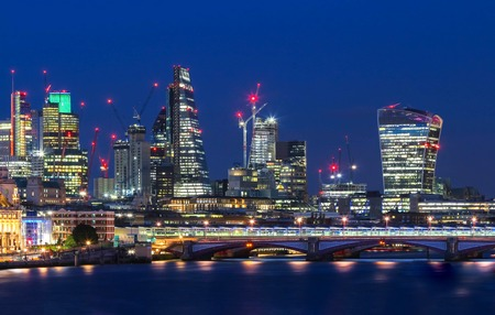 The view of Londons city hall and modern skyscrapers at night Stock Photo