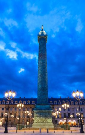The Vendome column , the Place Vendome at night, Paris, France.