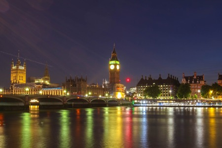 politic: Big Ben and House of Parliament at night, London.