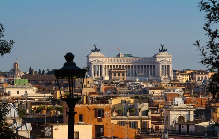 Panoramic aerial wonderful view of Rome with Altar of the Fatherland , Rome, Italy Stock Photo