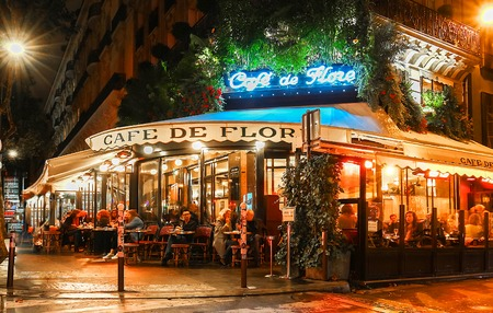 The famous cafe de Flore at rainy night, Paris, France.