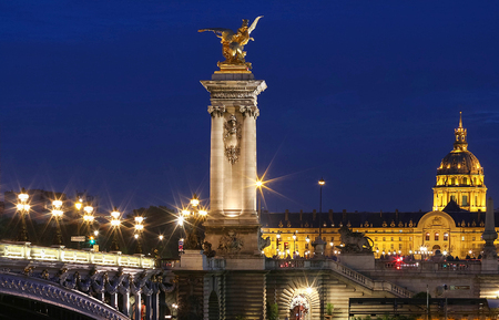The famous Alexandre III bridge in Paris, France Stock Photo