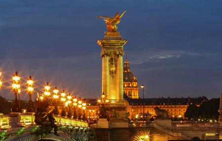 The famous Alexandre III bridge in Paris, France Stock Photo