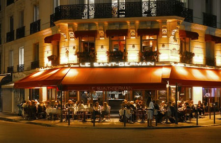 Paris, France-October 25, 2017: The traditional French cafe Saint Germain located on Saint-Germain boulevard .