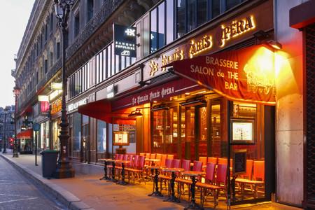 The traditional Parisian cafe Le relais Paris Opera located near Opera palace Garnier in Paris, France.