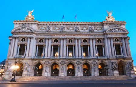 The Opera National of Paris at night.