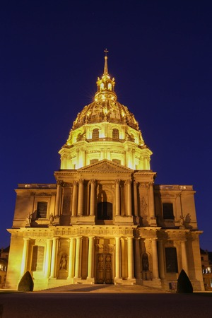 The cathedral of Saint Louis at night, Paris. Stock Photo