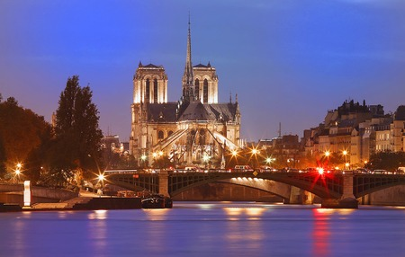 The Notre Dame Cathedral at night , Paris, France.