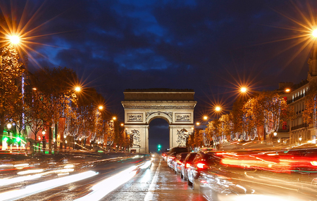 The Triumphal Arch and Champs Elysees avenue illuminated for Christmas,Paris.