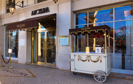 The famous tearoom and pastry shop Angelina located at Rivoli street in Paris, France.