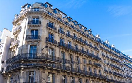 The traditional facade of Parisian building, France.