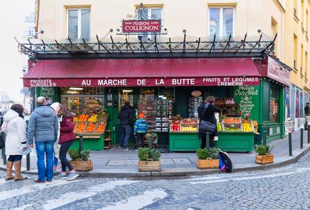 The fruits and Vegetable shop Au Marche de la Butte in the Montmartre area, Paris, France.