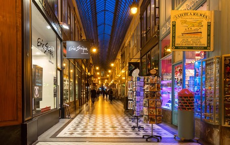 The famous passage Jouffroy in the evening Paris, France.