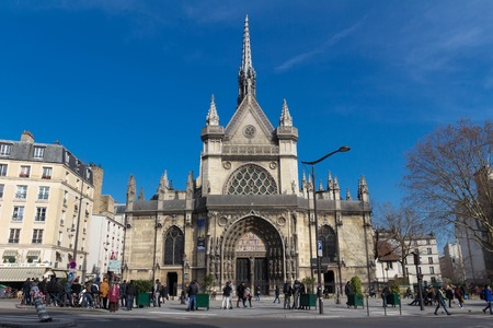 French people and foreigner travelers walking visit and take photo at Church of Saint-Laurent in Paris , France 에디토리얼