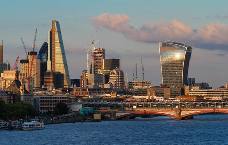 The view of Londons city hall and modern skyscrapers at sunny day.
