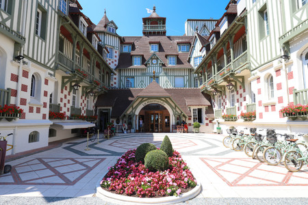 Famous five star hotel - Le Normandy hotel. A traditional architecture of the building. Deauville, Calvados department of Normandy, France. Editorial