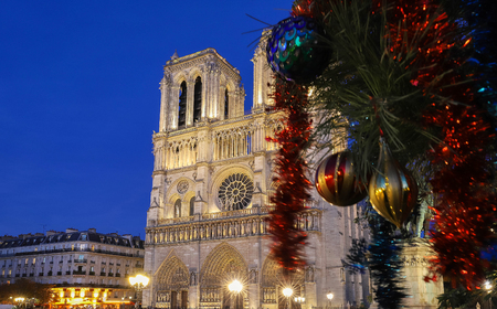 The Notre Dame Cathedral and branch with Christmas decoration in the foreground, Paris. 免版税图像