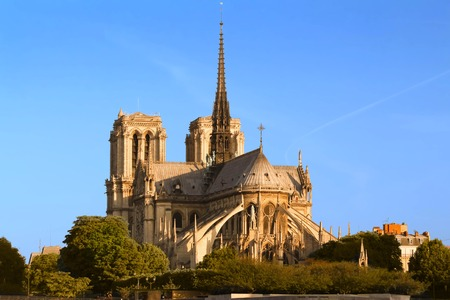 The Notre Dame Cathedral at sunny day , Paris, France.