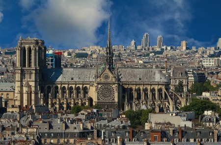 The famous Catholic Notre Dame Cathedral , Paris, France. Stock Photo