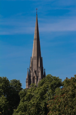 St. Mary Abbots Church, Kensington. A silhouette of a church spire in central London .