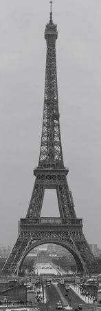 The panoramic view of the Eiffel Tower from the Trocadero. Black and white photography. France. Paris.