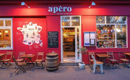 Apero is traditional French bistro located in the trendy area of Canal Saint-Martin, Paris, France. Editorial