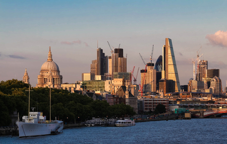 The view of Londons city hall and modern skyscrapers at sunny day. Stock Photo