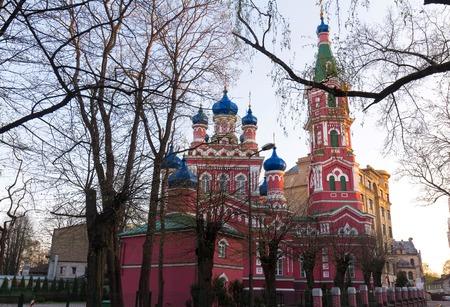 The orthodox church of Saint Trinity in Riga, Latvia .
