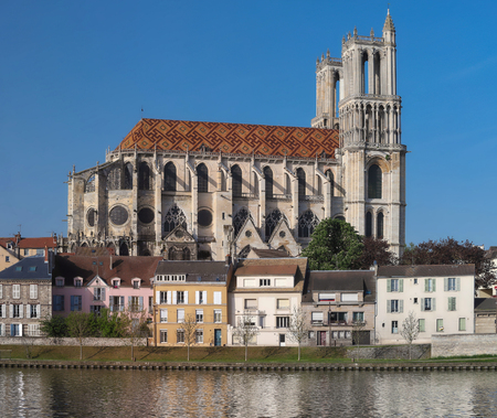 The medieval Collegiate Church of Our Lady of Mantes in the small town of Mantes-la-Jolie, about 50 km west of Paris, France.