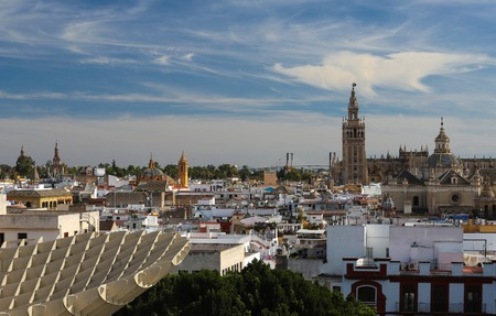 Aerial view of the roofs and the cathedral of Seville, Andalusia, Spain.