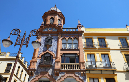 Facade of traditional spanish house. Seville, Andalusia, Spain, Western Europe. Banco de Imagens